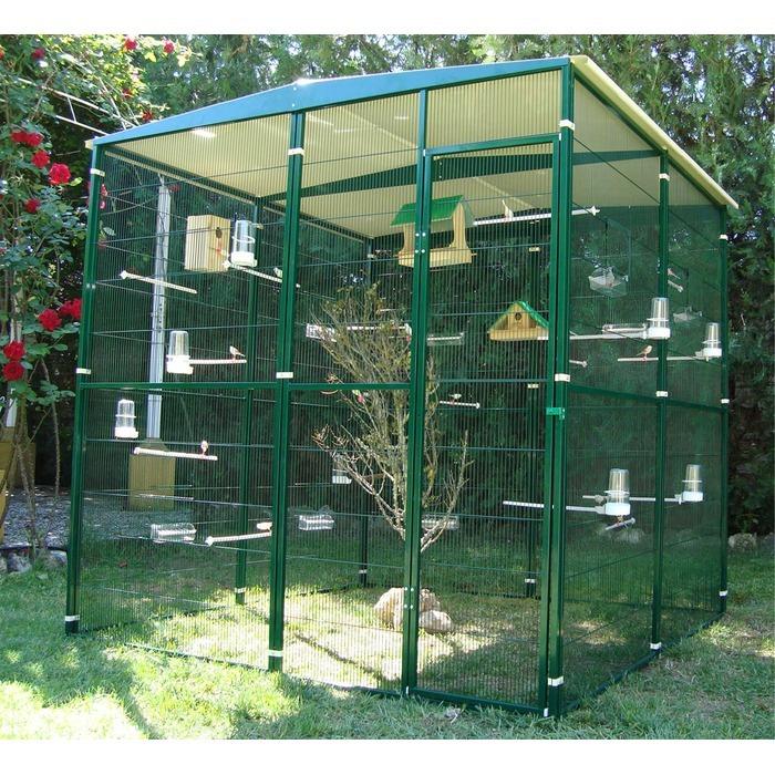 Voliere de jardin de 4m2 2 2m avec toit les voli res for Oiseaux pour voliere exterieure