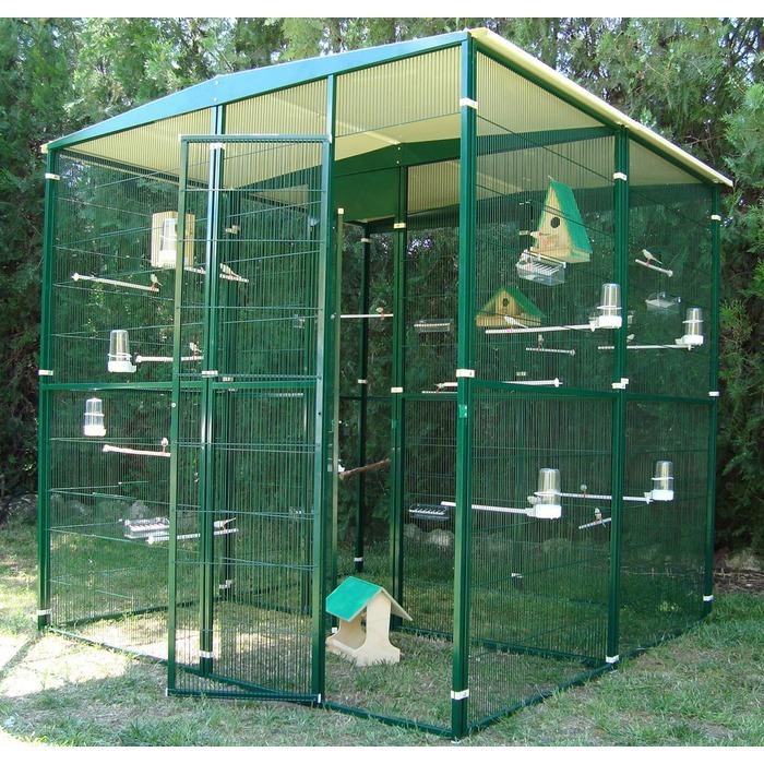 Voliere de jardin de 4 m avec separation centrale les for Voliere perroquet exterieur